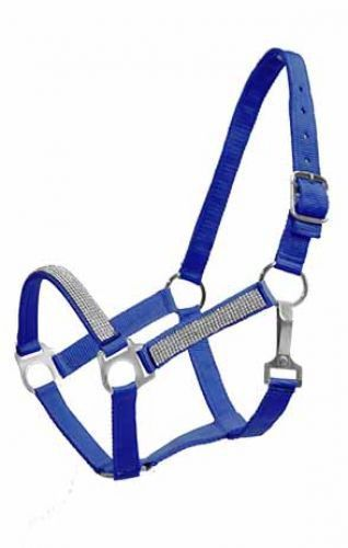 Lime Ply Medium/Large Pony size nylon halter with crystal noseband and cheeks