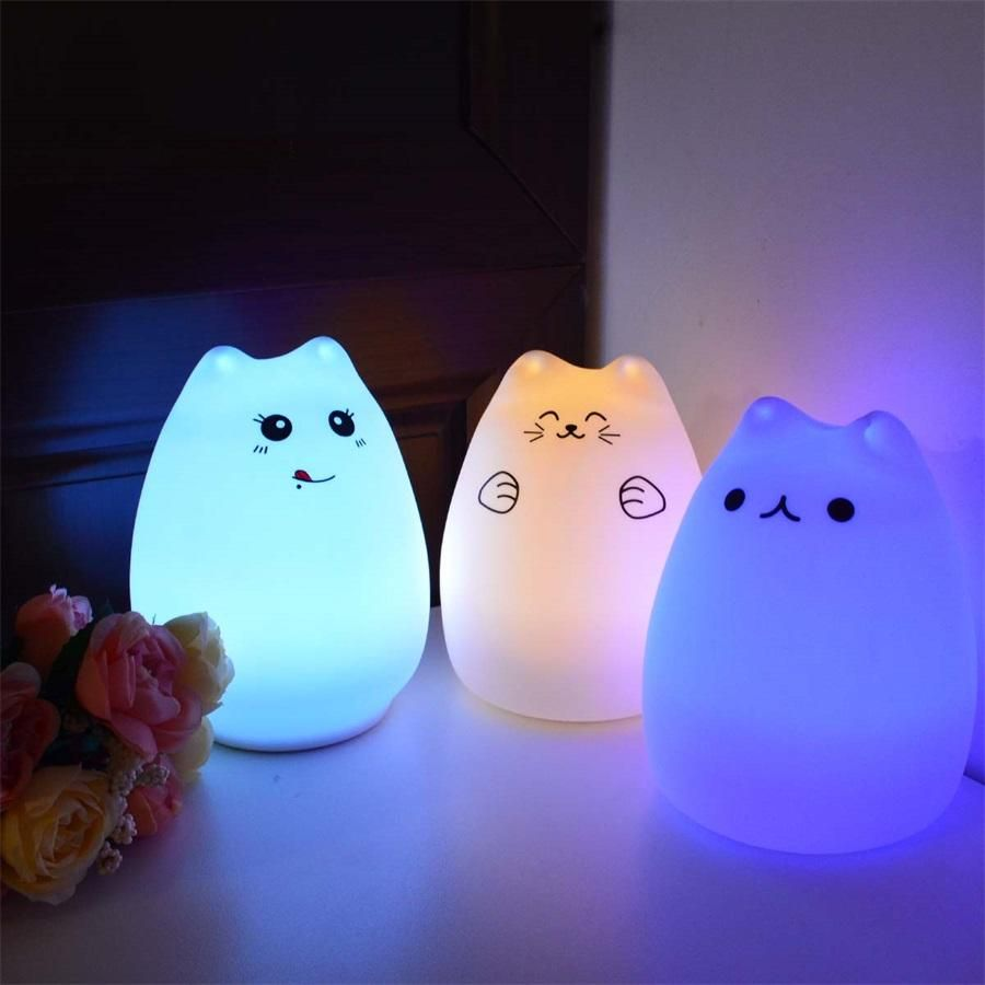 Silicone Touch Kitty Led Night Light Led Night Lamp Cat Lamp Led Night Light