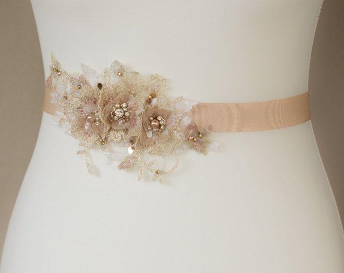 Sash Vestido de novia, correa de la boda, Rose Gold fajas cinturones ...