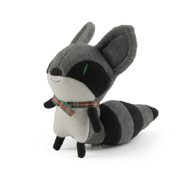 """A beautiful little stuffed toy raccoon made out of fleece fabric.11"""" high with embroidered details."""