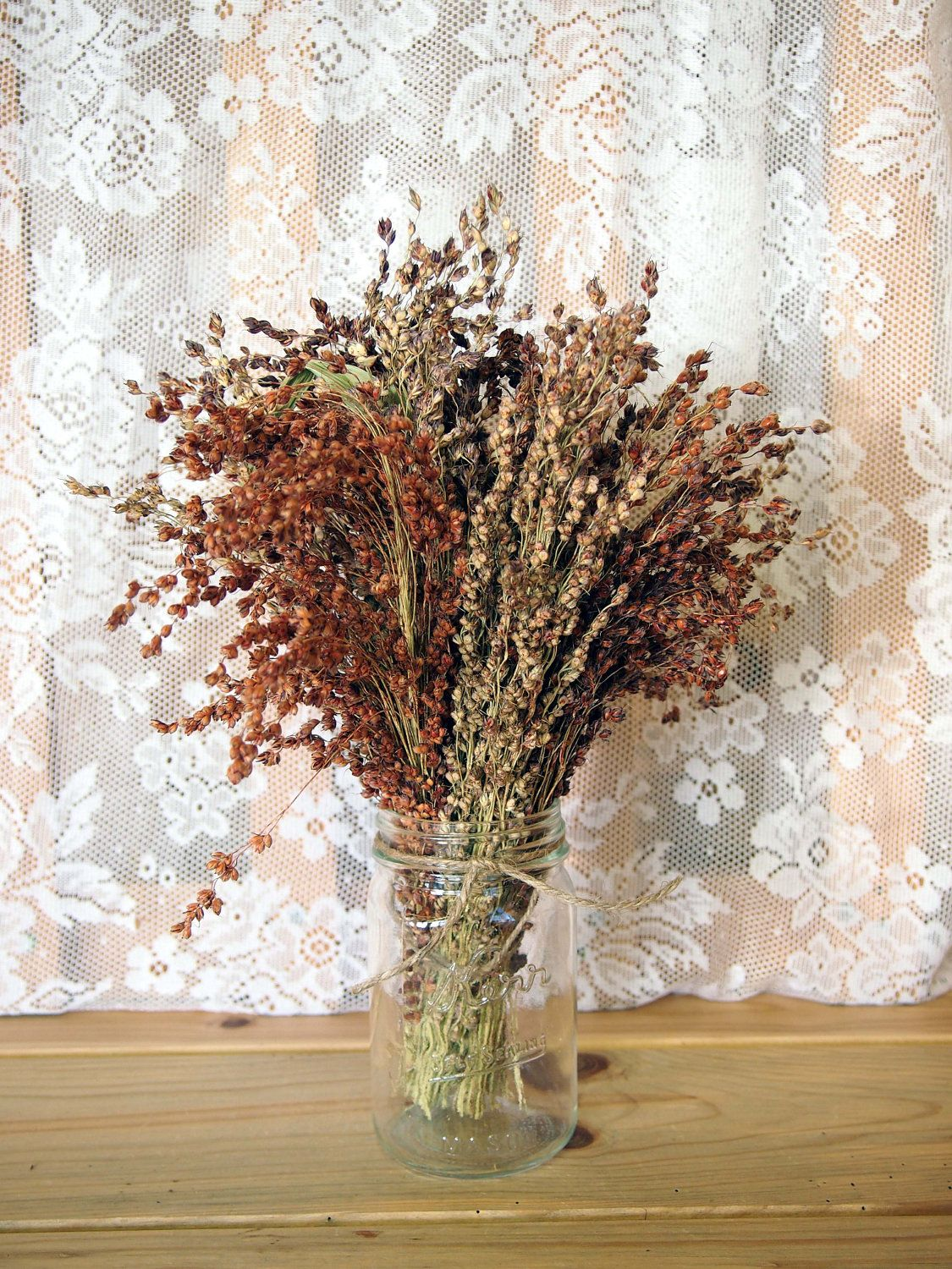 Rustic wedding table bouquet simple country broom corn pinterest