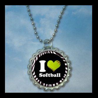 1 I love Softball Bottlecap NecklaceGLITTER by FlipflopBottlecaps