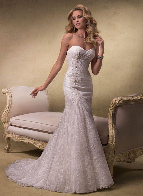 Elegant sweetheart neckline slim A-line lace wedding dress FMGW34 ...