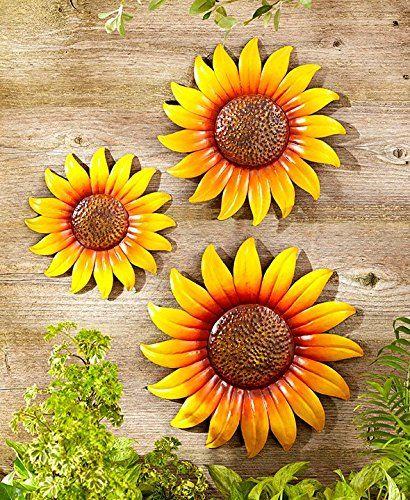 Metal Sunflower Wall Decor Set Of 3 Hanging Plaque Sunflowers