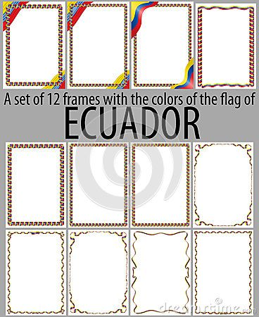 Set of 12 frames with the colors of the flag of Ecuador. | Frame and ...