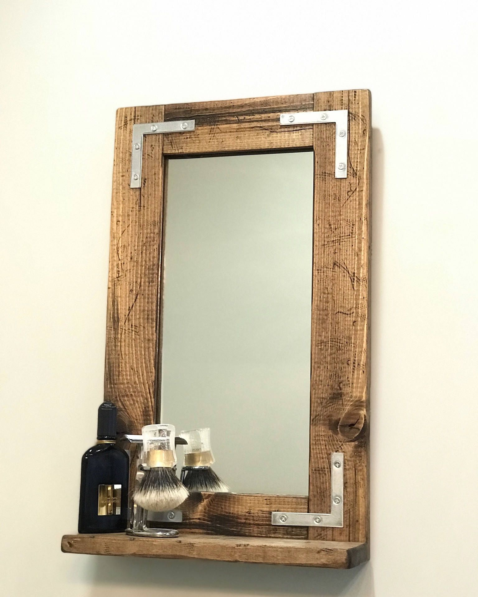 Rustic Distressed Mirror With Shelf Small Mirror Bathroom Etsy Rustic Mirrors Mirror With Shelf Bathroom Mirror With Shelf