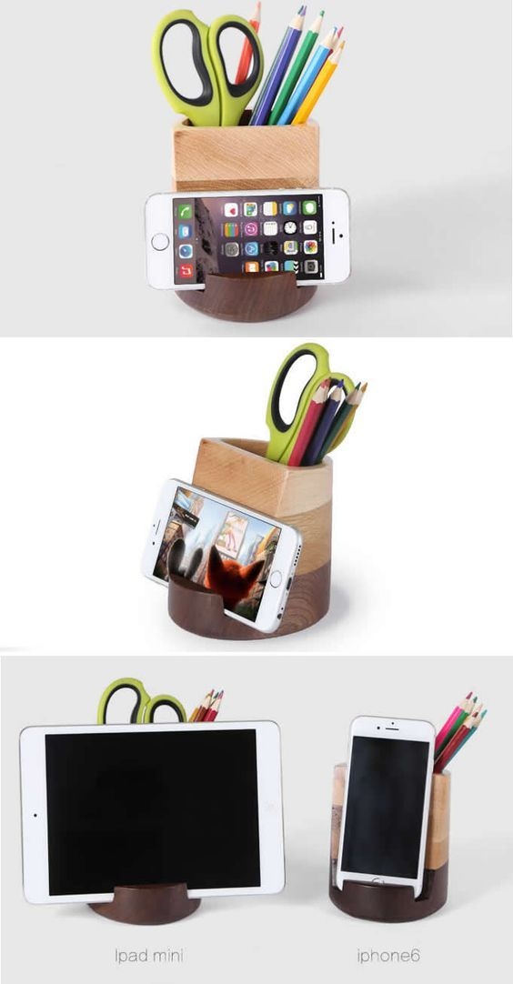 Wooden Vase Pen Pencil Holder Desk Organizer Smartphone