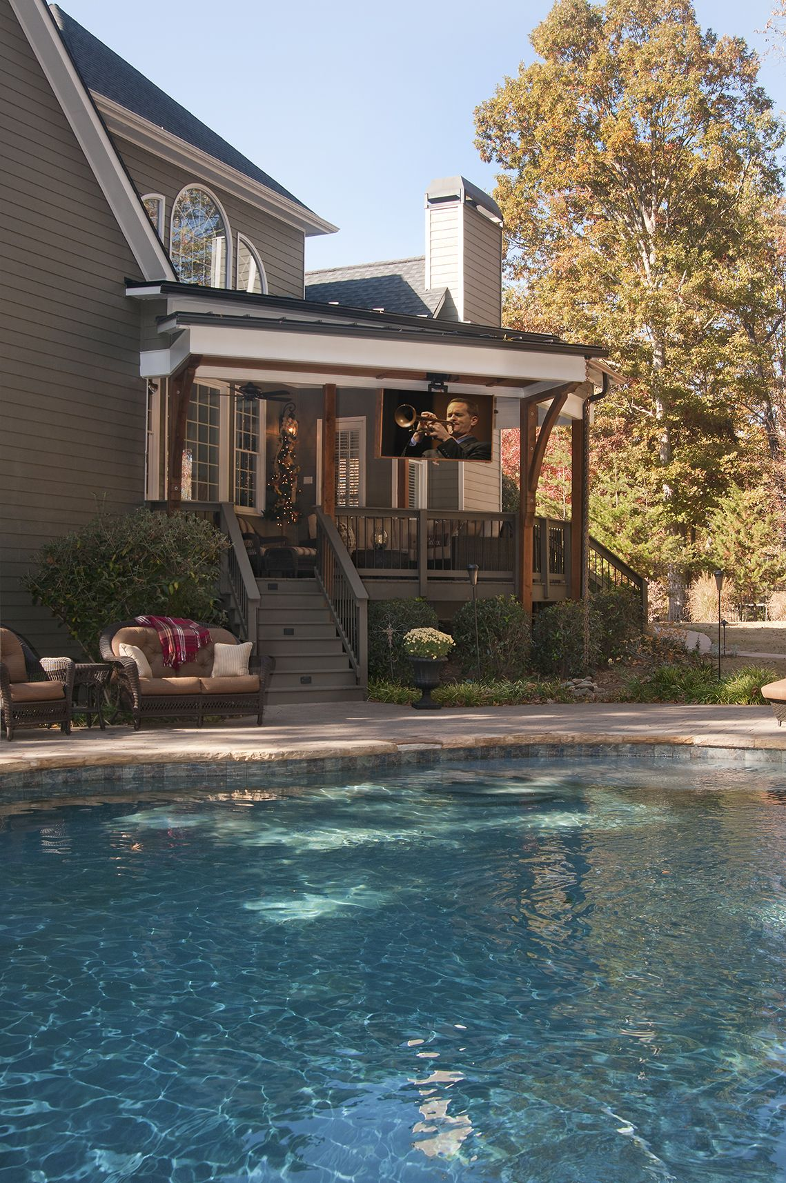 Open Porch With Recessed Tv That Comes Down And Rotates From Ceiling Viewable From Porch Or Pool Patio Pool Patio Decking Fence Outdoor Deck