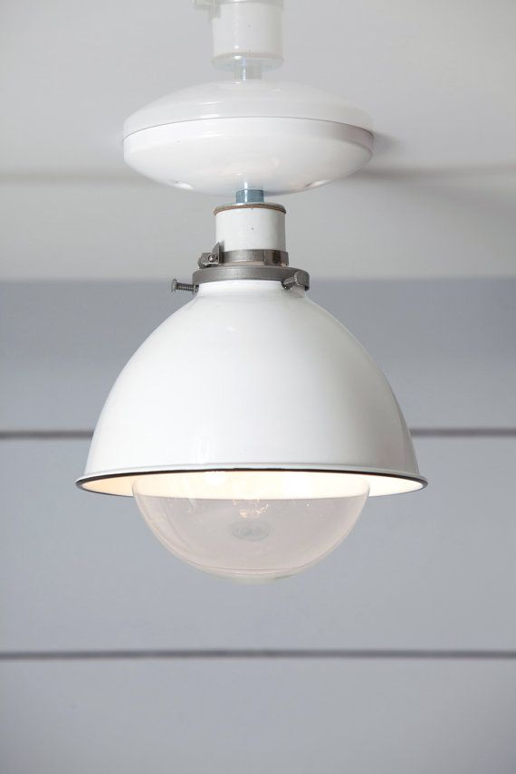 This Custom Made to Order White Metal Shade Ceiling Mount Light comes with- Black or White Ceramic Socket-Black or White Ceiling Canopy-White Metal Shade-UL ... & Industrial Ceiling Mount light White Metal Shade Lamp by IndLights ...