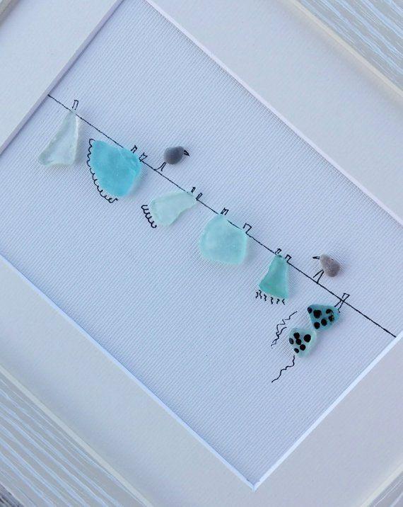 Photo of Pebble art wire, sea glass laundry, sea glass wire birds, birds art,clothesline wall art, home living, new home gift, sea glass art