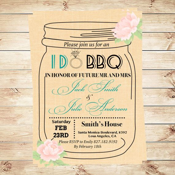 I Do Bbq Invitation Template Mason Jar Invitation Engagement Invitati Mason Jar Invitations Template Mason Jar Invitations Mason Jar Bridal Shower Invitation