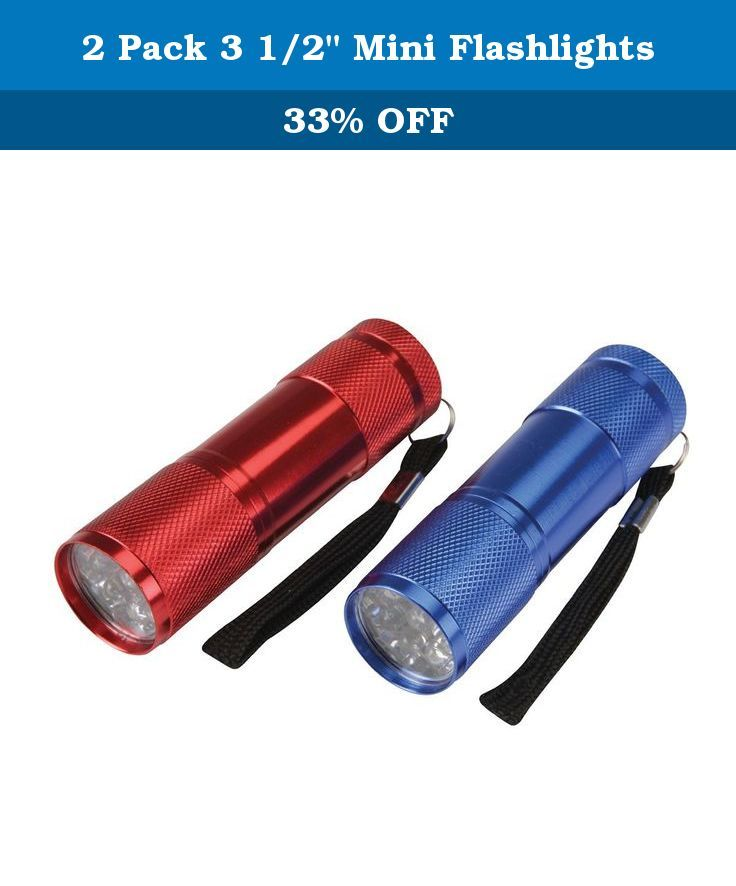 "2 Pack 3 1/2"" Mini Flashlights. Very bright 2 pack flashlights. Colors, Red and Blue. Measures 3 1/2"" long x 1"" diameter. Requires 3 ""AAA"" batteries (NOT INCLUDED)."