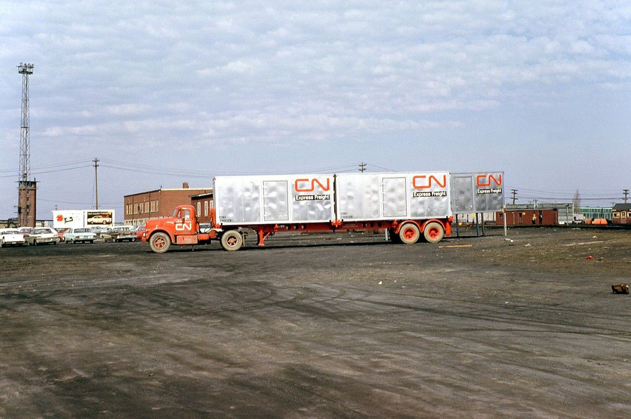 Another Example Of Canadian National S Early Intermodal Container Operations A Cn Truck And Container Chassis Ar Trucks Intermodal Container Freight Container