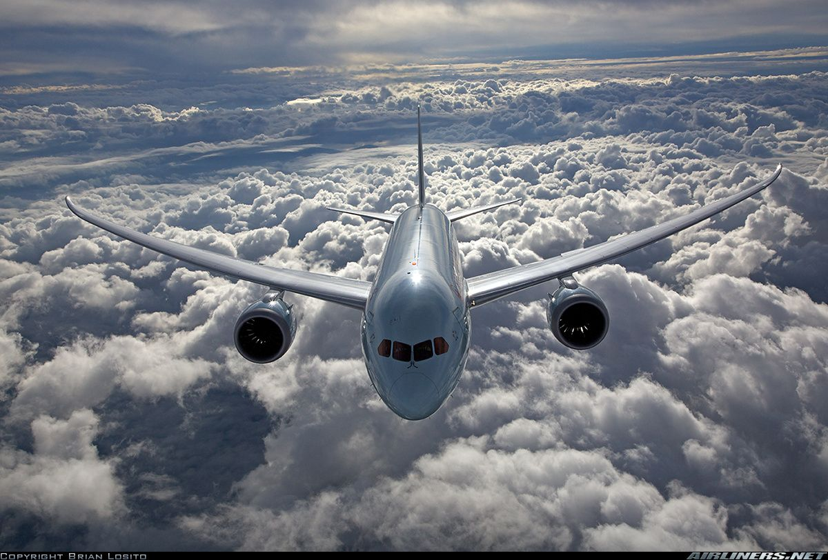 Air to air with an Air Canada 787 high over the clouds