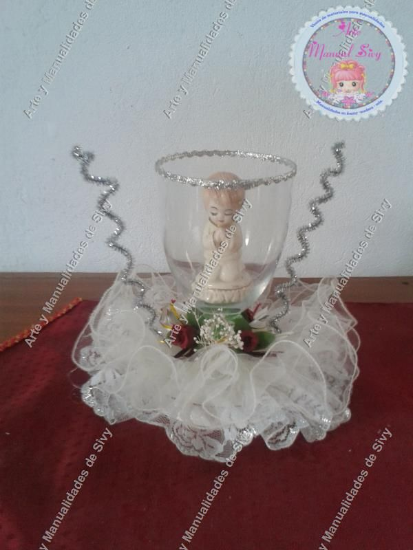 Centro de mesa copa primera comuni n 15 cm diametro - Centro de mesa para comunion de nina ...