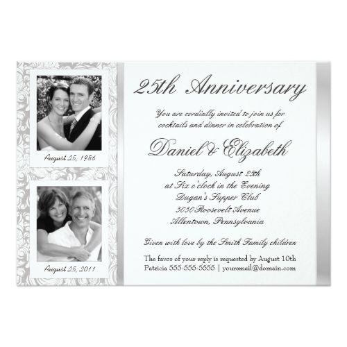 25th Wedding Anniversary Invitation Cards For Parents: 25th Wedding Anniversary Invitations 25th Anniversary