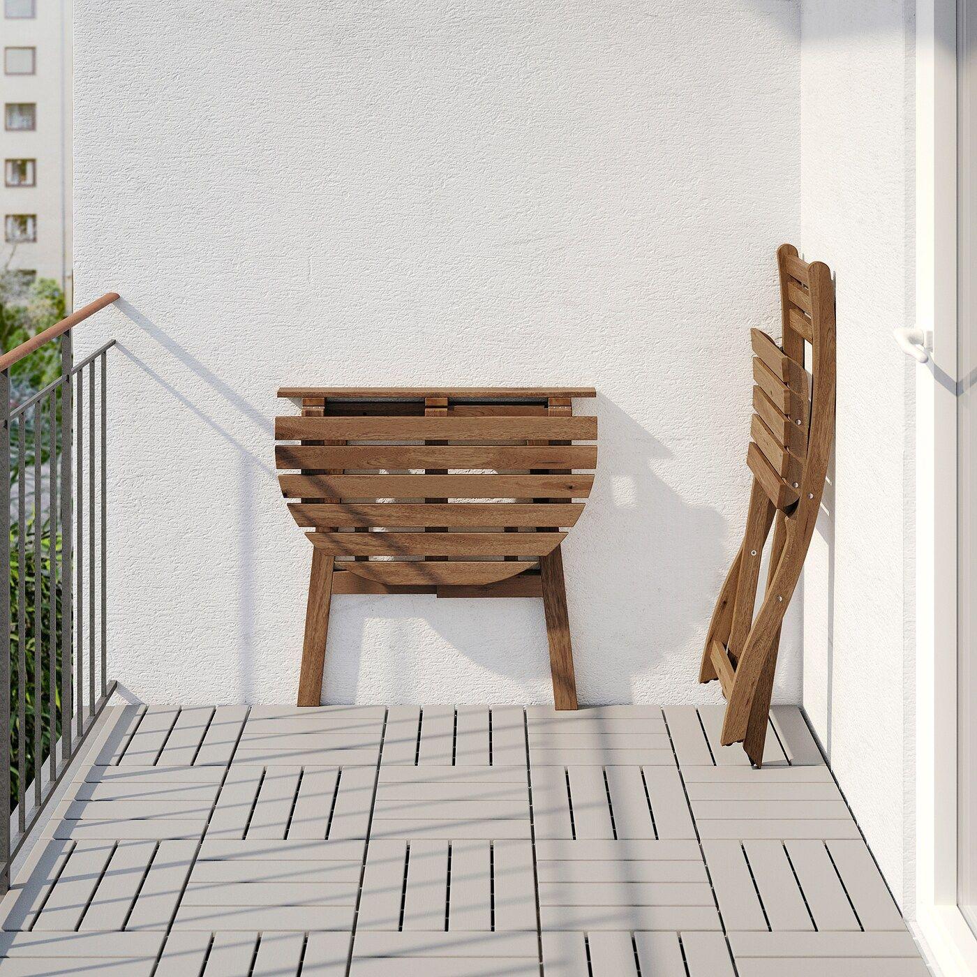 Askholmen Wandtisch Klappstuhl Aussen Graubraun Lasiert