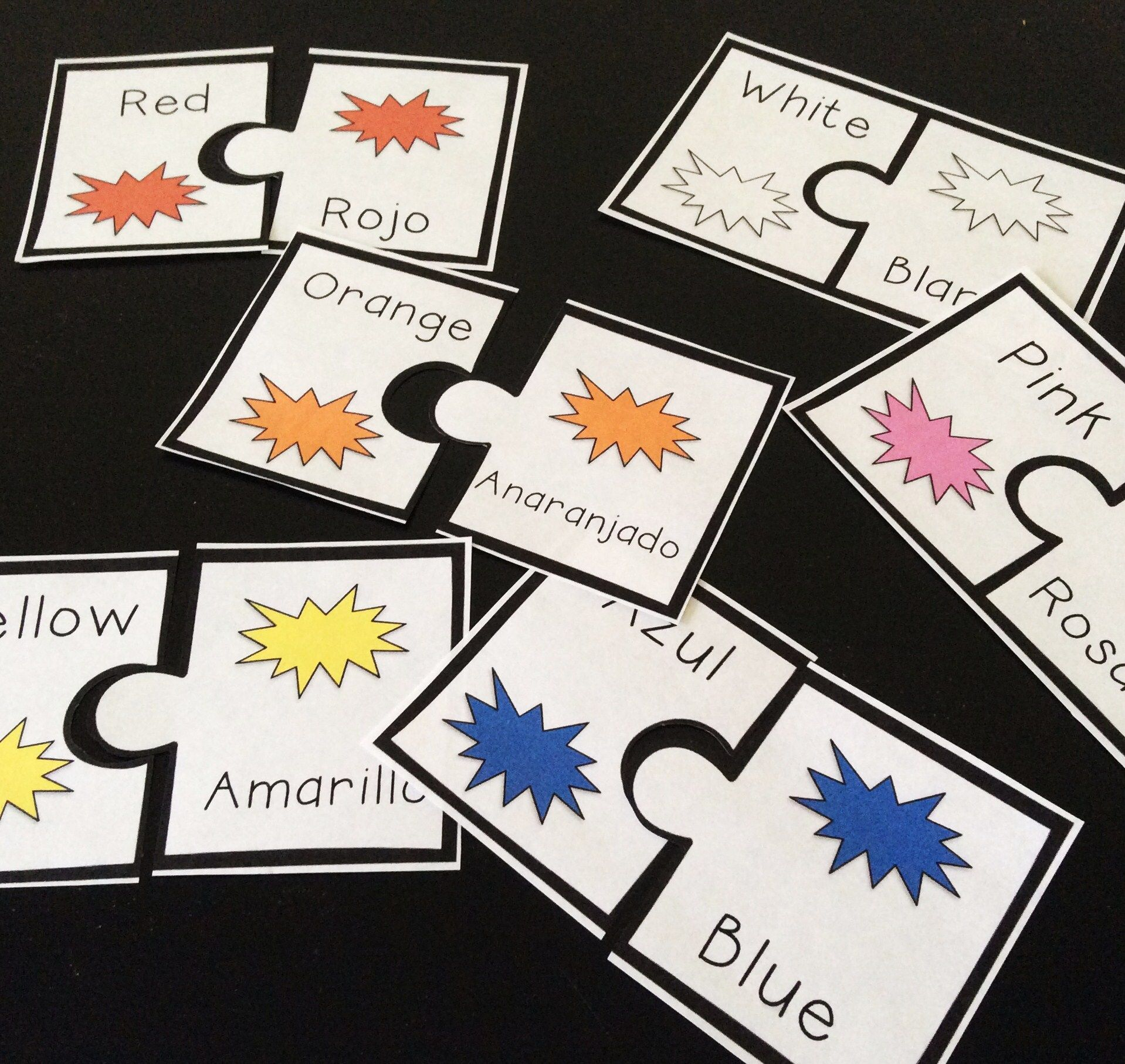 Spanish Colors Matching Game Puzzle Piece Printable