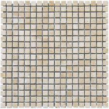 "Durango Cream 0.625"" x 0.625"" Travertine Mosaic Tile in Beige"