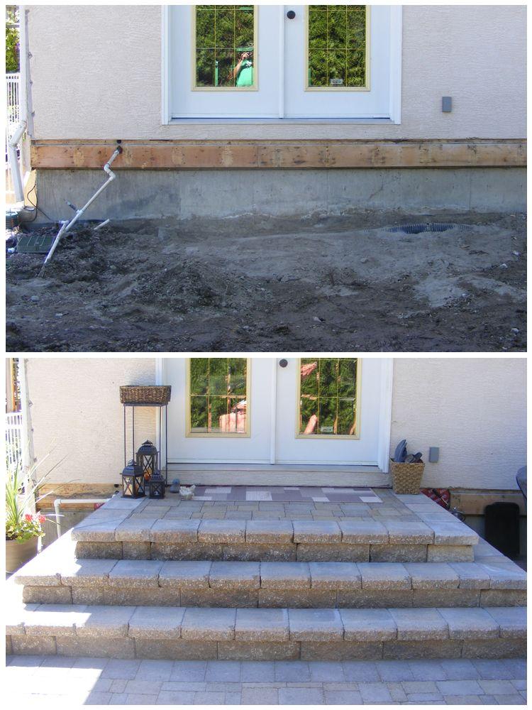 Stairs made from allan block and interlocking brick