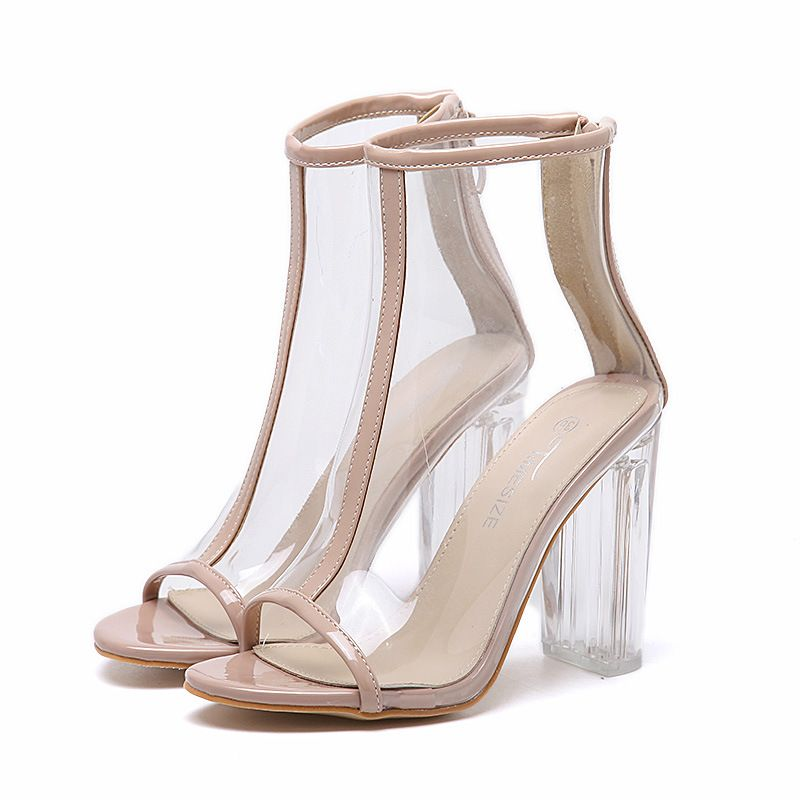 Hot Sale Pumps Large European and American Style Transparent Thick Cool  Boots with Super High Heels