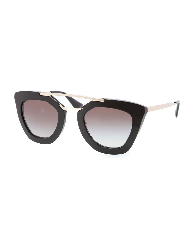 Prada sunglasses. Thick, cat-eye acetate frames. Golden metal arms ...