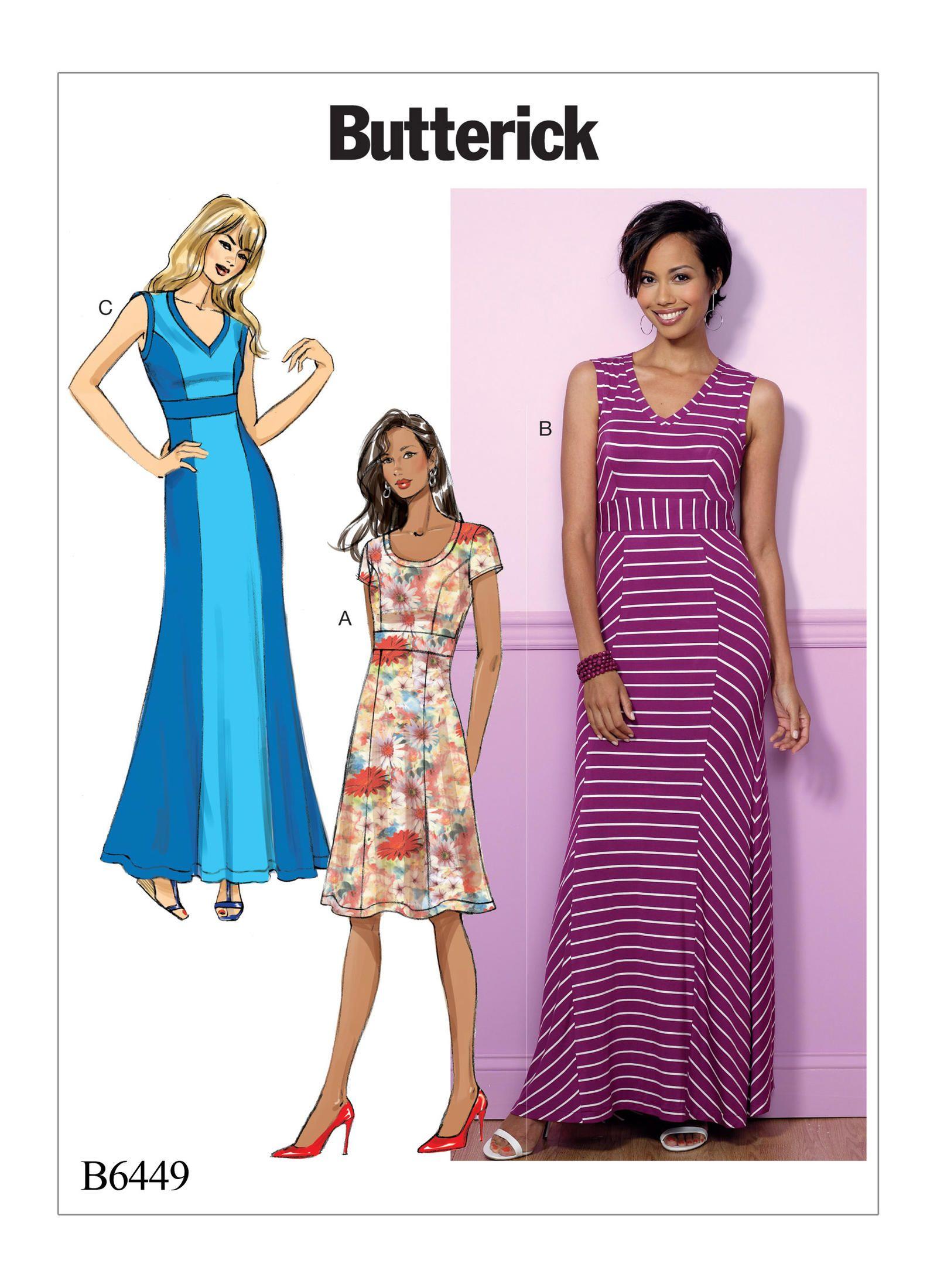 50a9af6dc5 Butterick 6449 Misses' V-Neck or Scoopneck, Princess Seam Dresses sewing  pattern