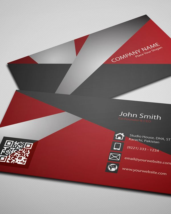 Free Creative Red Business Card Psd Template    Business Cards