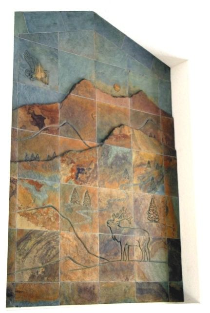 Decorative Wall Tile Murals Carved Tile Slate Mural  Products I Love  Pinterest  Slate