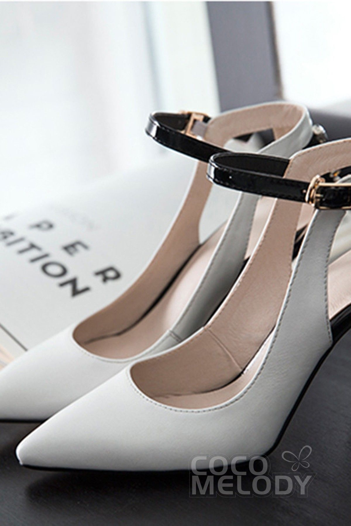 Leather Stiletto Heel 8.5cm Heel Pointed Toe Dress Shoes SWS15011 #cocomelody