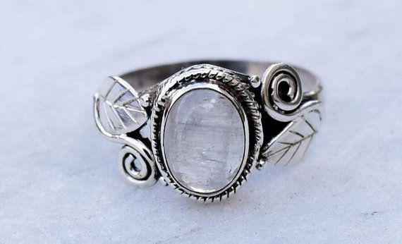 60f12eff86fc Anillo de piedra lunar, anillo de piedra, anillo de plata, anillo ...