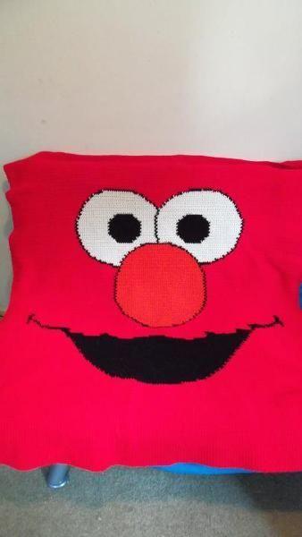 Elmo Face! My FAVORITE monster! CREATIVE: Crochet- Blankets Pinterest E...