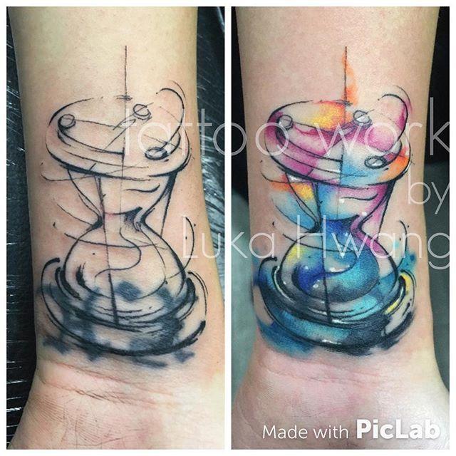 7b1088183d6f8 Tattoo work. #coverup #coveruptattoo #watercolortattoo #watercolor # hourglass…