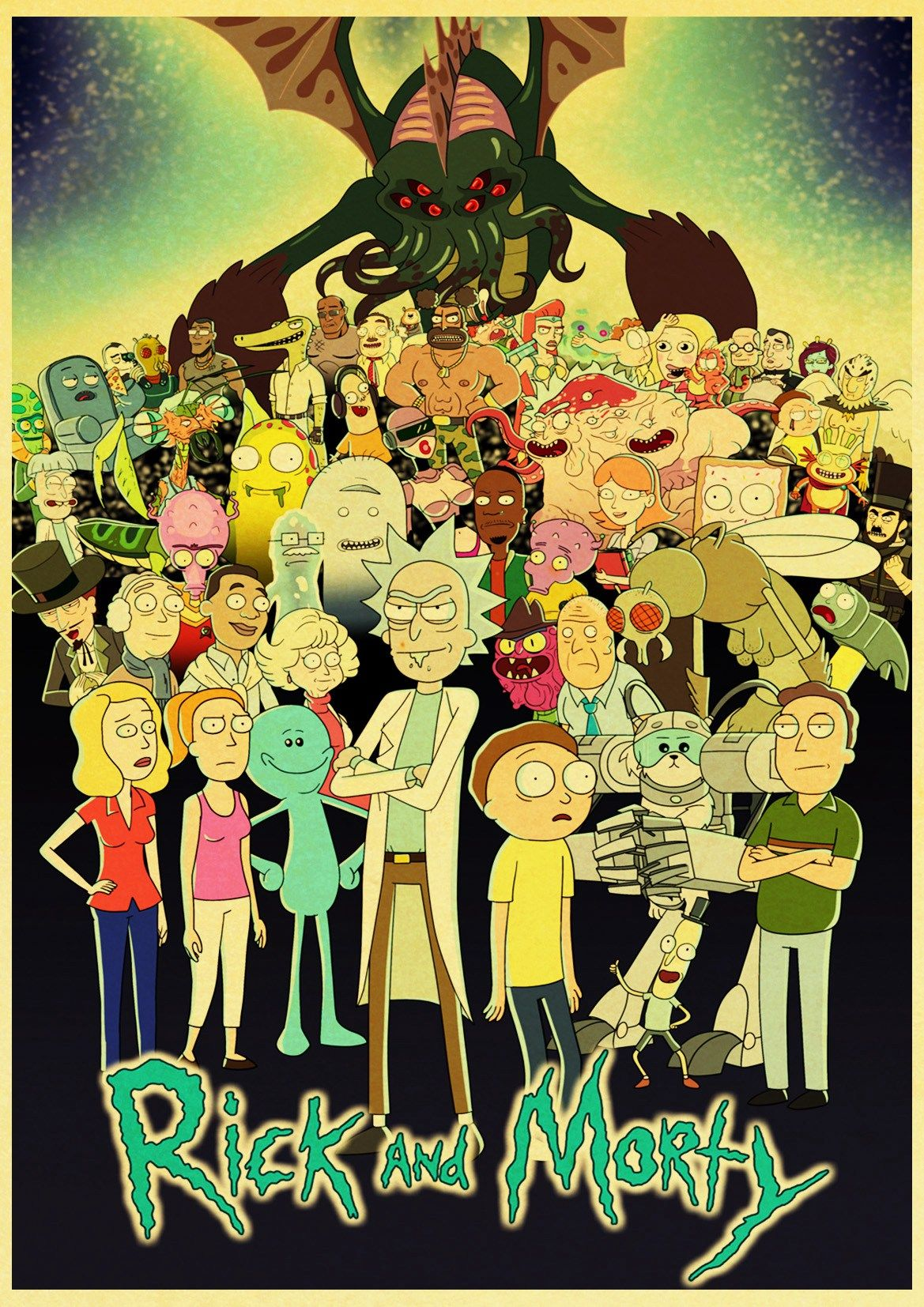 Cartoon Rick And Morty Retro Poster In 2020 Rick Morty Poster