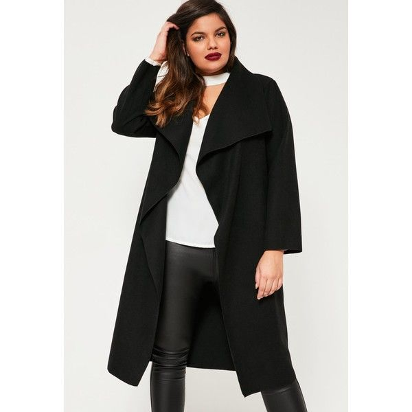 Missguided Plus Size  Waterfall Oversized Duster Coat ($63) ❤ liked on Polyvore featuring outerwear, coats, waterfall duster coat, duster coat, oversized coat, missguided coats and waterfall coats