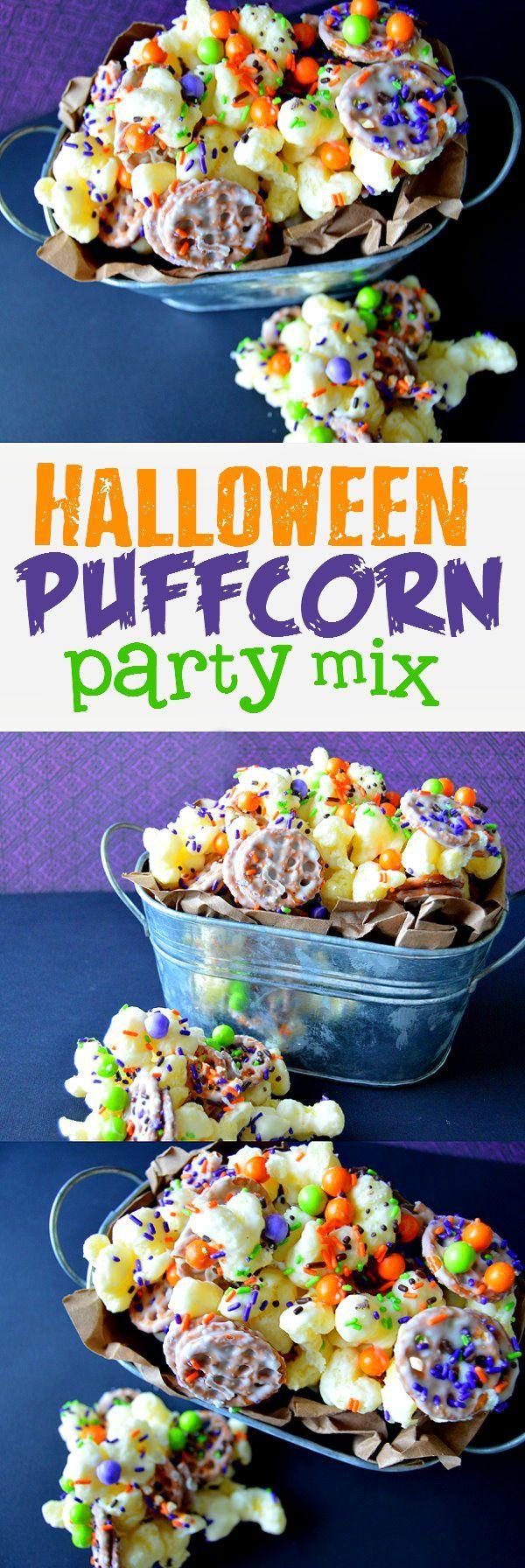 halloween puffcorn party mix | time kids, autumn fall and pretzels