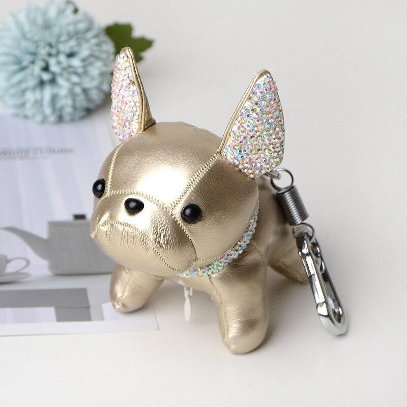 Rhinestone French Bulldog Leather Keychain French Bulldog