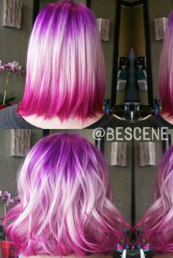 pink purple ombre two tone dyed