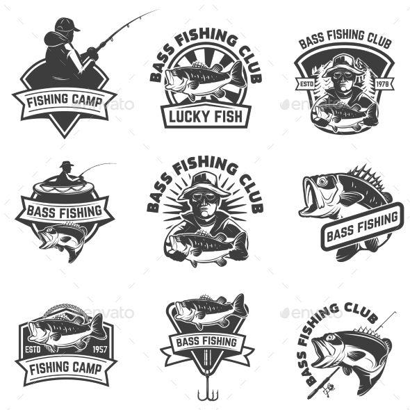 Set of bass fishing emblem templates isolated on white