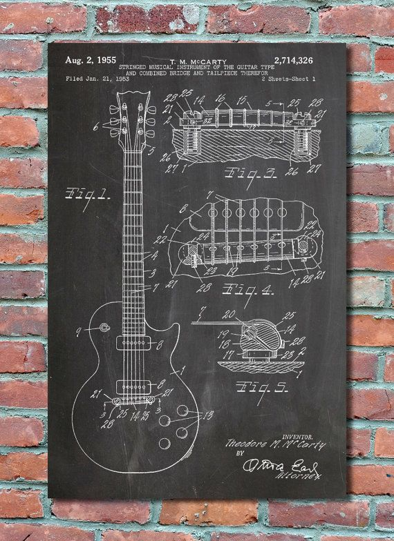Gibson Les Paul Electric Guitar Patent Wall Art Print Patent