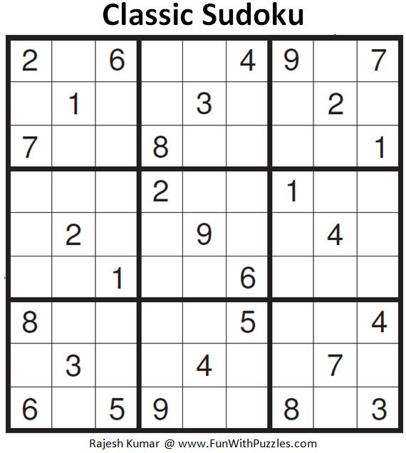 Classic Sudoku (Fun With Sudoku #162) | Sudoku Puzzles
