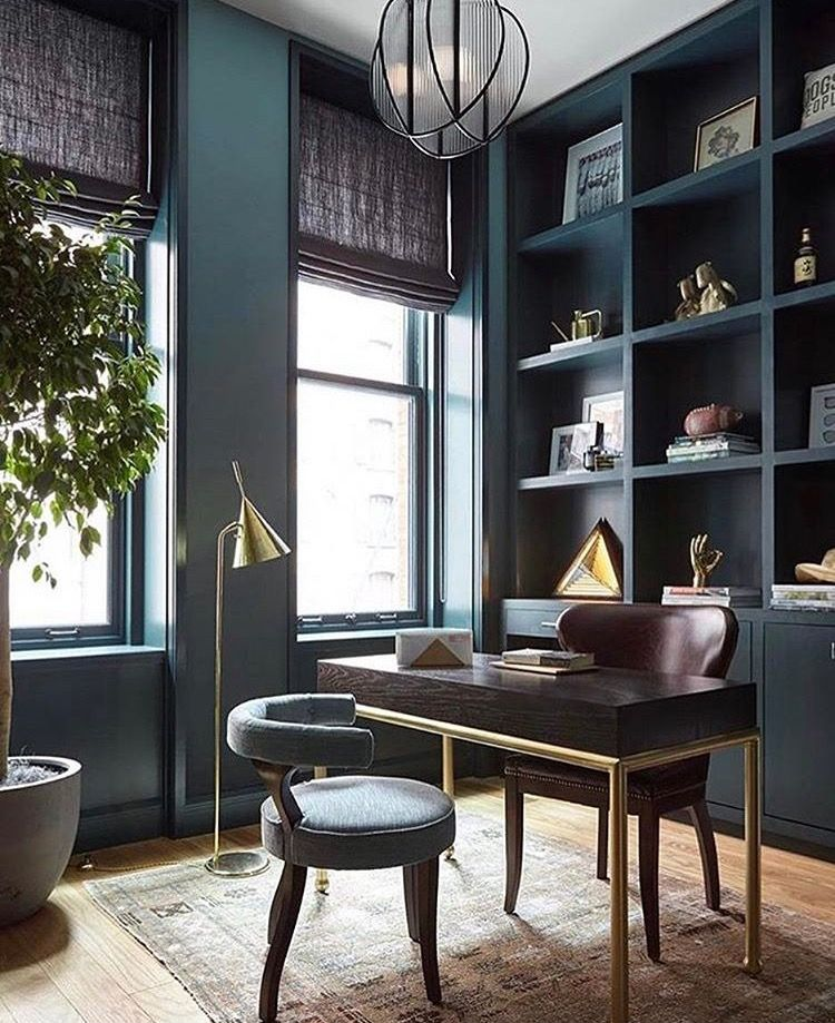 Dark Turquoise Study Home Office With Tall Cabinetry Home Office Design Home Office Decor Home Office Furniture