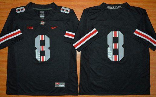Men's Ohio State Buckeyes 8th Championship Commemorative Blackout 2015 NCAA Football Jersey