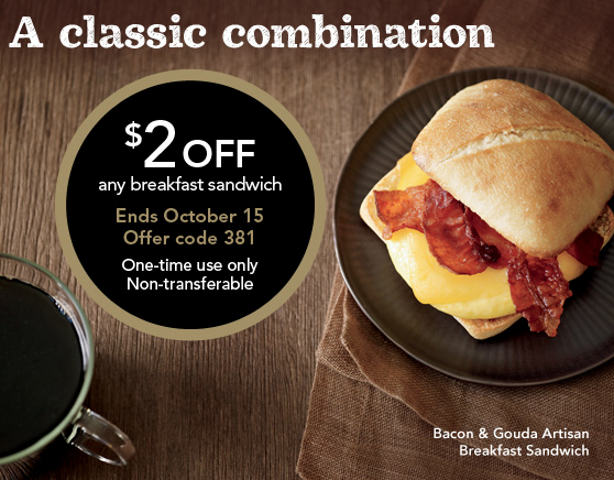 picture about Starbucks Coupons Printable named Starbucks Coupon codes: $2 Or $1 Off Any Breakfast Sandwich