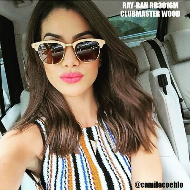 Camila Coelho looks stunning in RayBan RB3016M WOODEN CLUBMASTERS