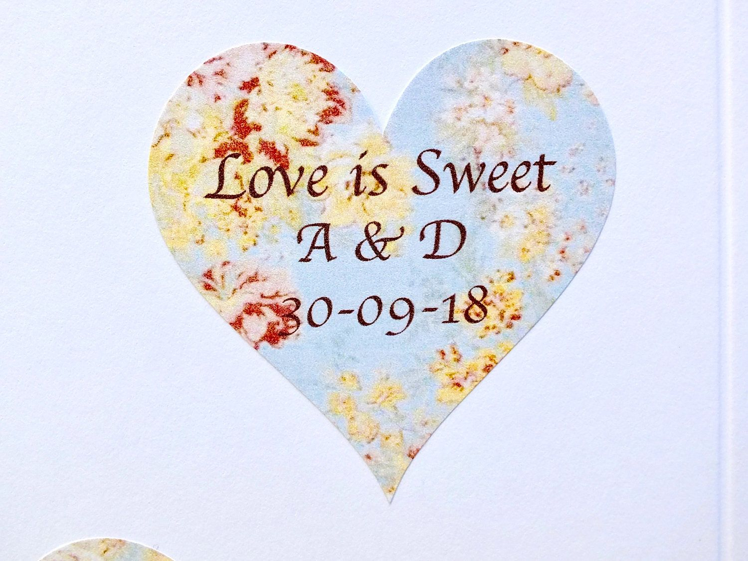 Image is loading 72-x-Personalised-Wedding-Stickers-Labels-Rustic-Heart-