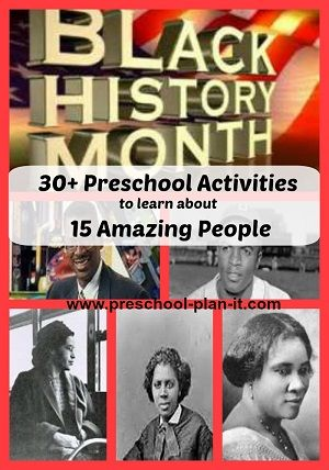 Black History Month Preschool Theme: Your children will learn much, as will you, about the accomplishments of so many African-Americans.   This Black History Month Theme for Preschool includes preschool lesson plans, activities and Interest Learning Center ideas for your Preschool Classroom!