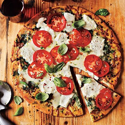 White Pizza with Tomato and Basil... mmm