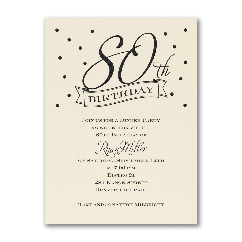 80th Confetti Birthday Invitation Ecru 90th Birthday Invitations 80th Birthday Invitations Birthday Invitations