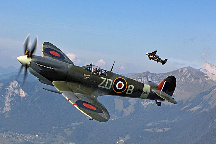 """#Spitfire MH434, a WWII fighter plane which are since the 50's no more in service with pilot Nigel Lamb and representing the 21st century Yves """"Jetman"""" Rossy and his jetpack. A meeting arranged during a promo event by watchmaker #Breitling"""